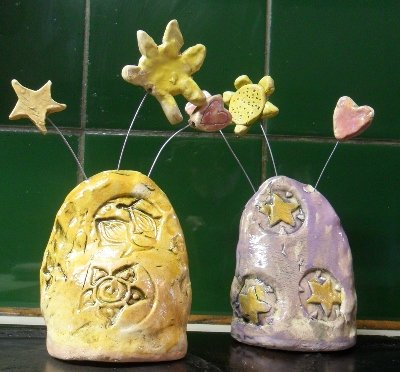 Pottery paperweights made by our clients can be purchased from our Wholefood shop in Wigton.