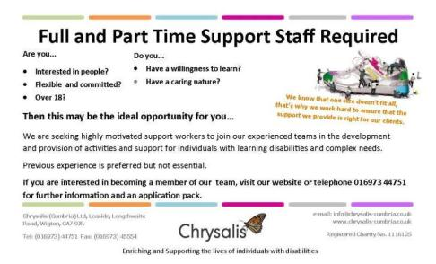 Support Worker Advert
