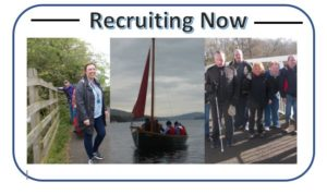Recruiting now poster shows 3 pictures side by side of support workers with members on various activities