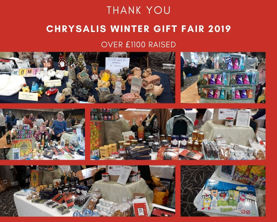 Thank you for helping to raise over £1100 at the Chrysalis Winter Gift Fair